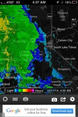 Storm is almost at Tahoe! Lets hope for feet not inches