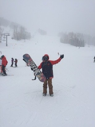 Great day on the slopes, blizzard conditions but the snow here is just so good!!