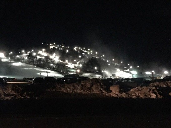 Night skiing is great, icy conditions 2 days ago, but the guns had just begun, can imagine it's better already with sudden drop in temps.  Have fun!