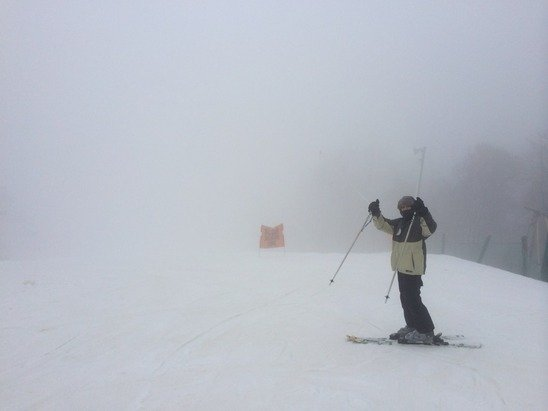 Really foggy and wet. Still fun tho!!