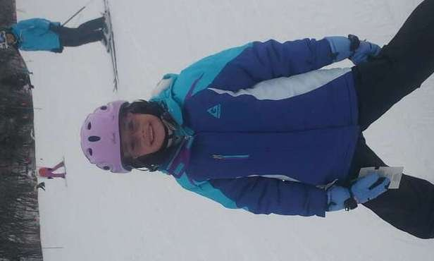 yeah for my good friends daughter. she is learning to ski.