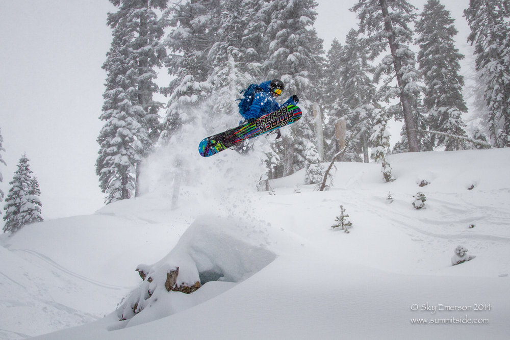 Shane Reide launches off a powder pillow at Sugar Bowl. - ©Sky Emerson