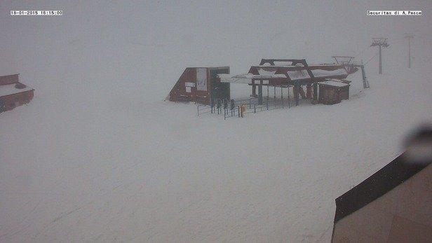 Oggi è stata una buona giornata per sciare: temperatura media tra i -5*C ed i -1*C con l'alternarsi tra neve e nebbia (non troppo fitta) e con vento intorno ai 20 km/h (dava un po' di fastidio solo sulle seggiovie).
