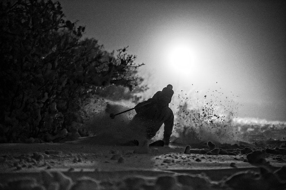 Sven Brunso night powder skiing at Hesperus. - © Liam Doran