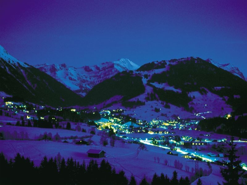 The Swiss town of Gstaad at night.