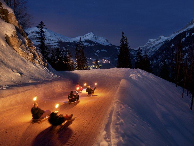 Descente nocturne en luge aux Diablerets - © Alpine Pearls