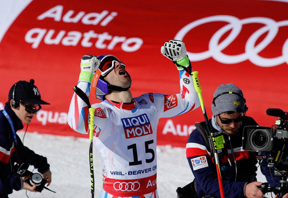 Der 3. Platz im Super-G geht dieses Jahr an Adrien Theaux für Frankreich - ©Audi Media Service