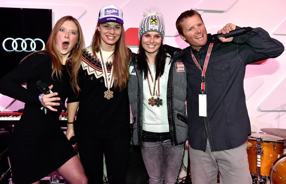 Medaillenempfang in der Audi Lounge, von links: Kaylin Richardson (USA), Tina Maze (SLO), Anna Fenninger (A) und Daron Rahlves (USA) - ©Audi Media Service