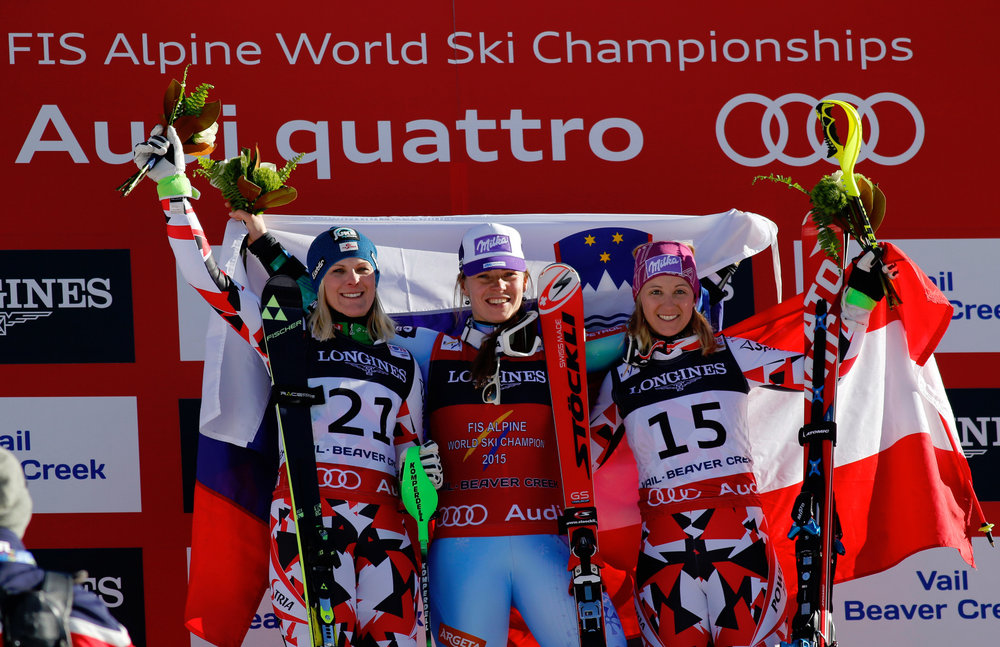 Podium Super-Kombination, von links: Nicole Hosp (A), 2. Platz, Tina Maze (SLO), Siegerin, Michaela Kirchgasser (A), 3. Platz - ©Audi Media Service