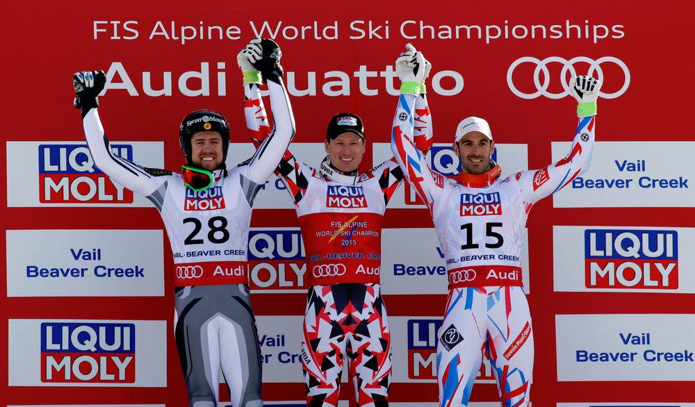 Podium Super-G, von links: Dustin Cook (CDN), 2. Platz, Hannes Reichelt (A), Sieger, Adrien Theaux  (F), 3. Platz - ©Audi Media Service