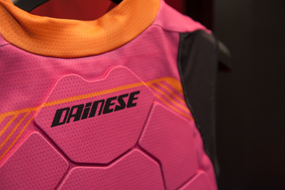 Debuting in North America, Italian brand Dainese makes some really sweet-looking back protectors. - © Ashleigh Miller Photography
