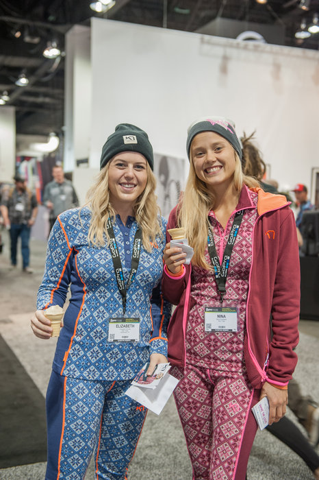 The girls from Kari Traa maintaining ideal body temperature by eating ice cream while wearing thermal underwear. - © Ashleigh Miller Photography
