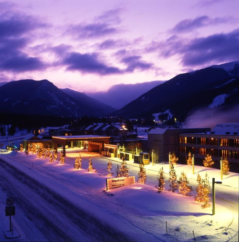 A view of Keystone, Colorado at night