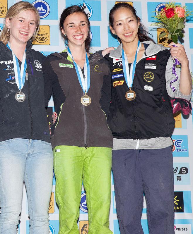 Boulder-Weltcup in Chonqing 2014: Podium Damen - © Heiko Wilhelm
