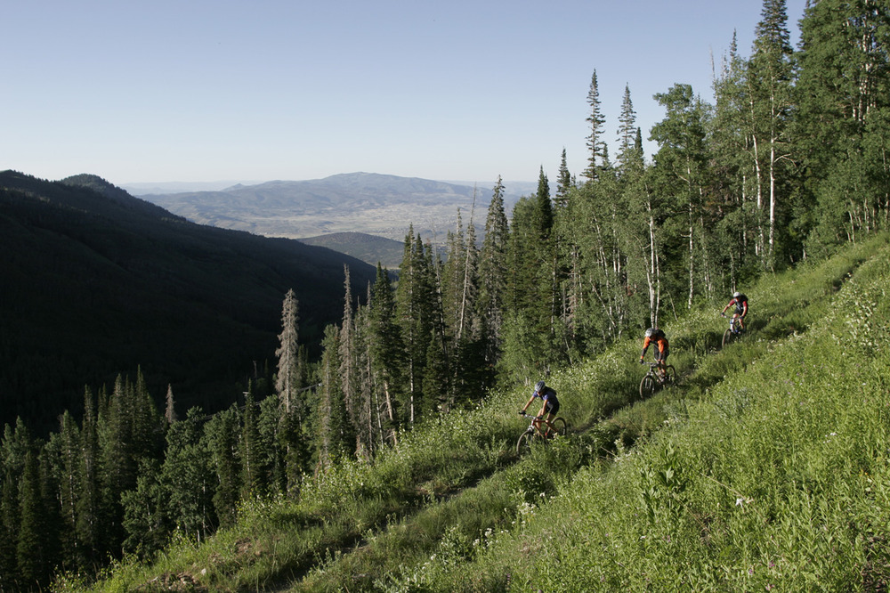 Mountainbikers in the hills over Park City.