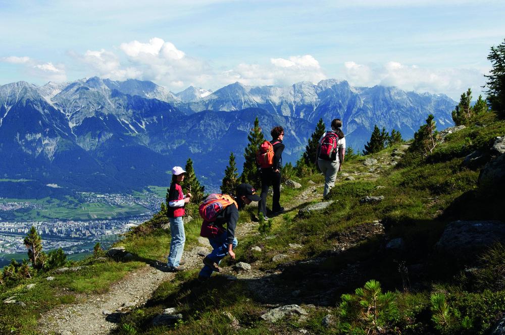 Group hiking the Zierbenweg above Innsbruck