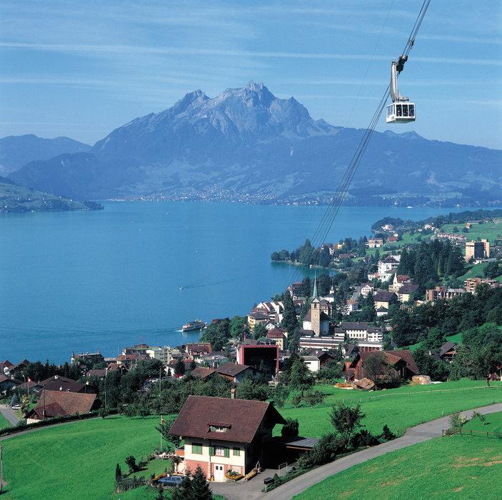 Switzerland. get natural. .Weggis (435 m) on the shores of Lake Lucerne in Canton Lucerne, Central Switzerland. The cable car leads up to Rigi Kaltbad (1438 m), in the background Mt. Pilatus (2120 m)...Schweiz. ganz natuerlich..Weggis (435 m) am Vierwaldstaettersee im Kanton Luzern in der Zentra
