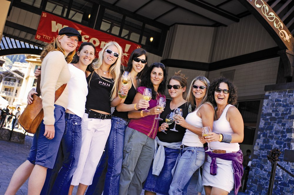 A group of women at the Alpin Wine Fest at Village at Squaw Valley.