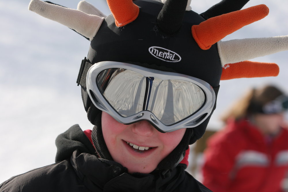 Young skier with an interesting helmet at Wild Mountain, MN