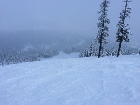 Hoodoo Ski Area - Saturday photo. Snow over Ice over snow.  - © JimR's iPhone