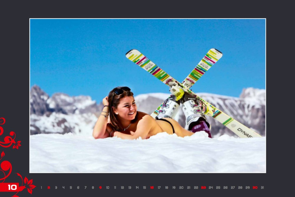 Miss octobre (calendrier des monitrices de ski de Val Gardena au profit de la recherche contre la leucémie) - © Scuola Sci Selva http://www.scuolasciselva.com - Robert Perathoner ski instructor & photographer - www.foto-prodigit.com