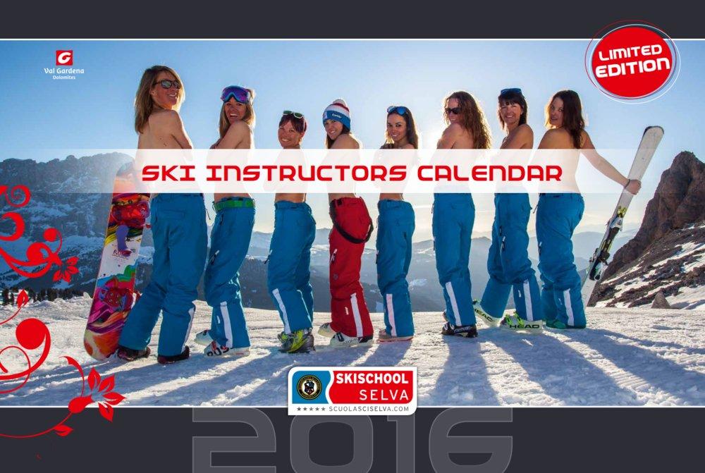 Photo de couverture du calendrier des monitrices de ski de Val Gardena au profit de la recherche contre la leucémie) - © Scuola Sci Selva http://www.scuolasciselva.com - Robert Perathoner ski instructor & photographer - www.foto-prodigit.com