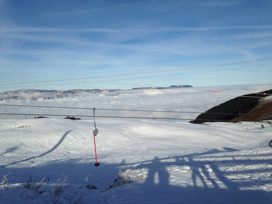 Les 7 Laux - Manque de neige mais trop bo temps - © iPhone de Marion