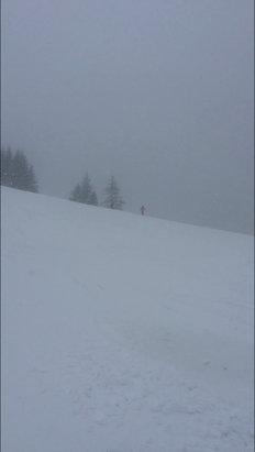 Samoëns - il neige pas mal au dessus de 1600m, pour le moment ça accroche beaucoup les ski mais demain ce sera top quand elle sera travaillée ! - © iPhone de Damien Nowicki