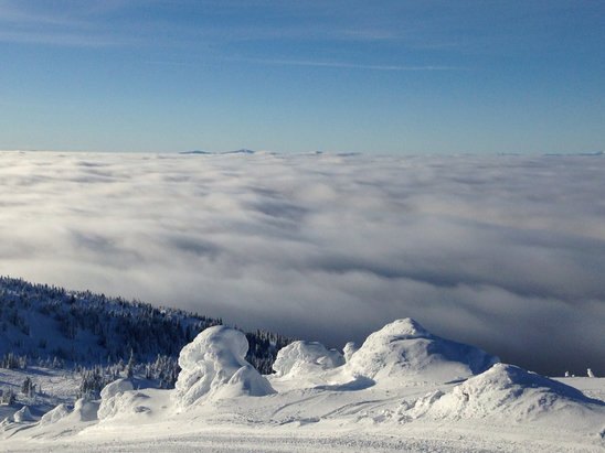 Big White - Awesome day today, above clouds. Most of powder tracked out by end of day. Sunday Jan 10 - © Scot's iPhone