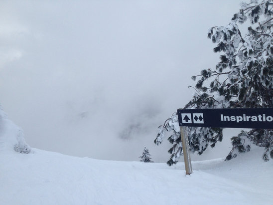 Bogus Basin - Was a mostly blue bird day this weekend with some light tracked out snow in the trees, pretty okay groomers, and hard packed corn snow coming down the face. Pretty normal bogus conditions, more snow to come this weekend!  - © Graham's phone