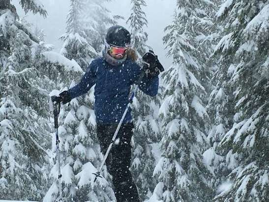 Mt. Hood Meadows - Great day. My car had 6 inches on it at the end of the day. Fresh tracks nonstop today. So happy!  - © beckyjarnes