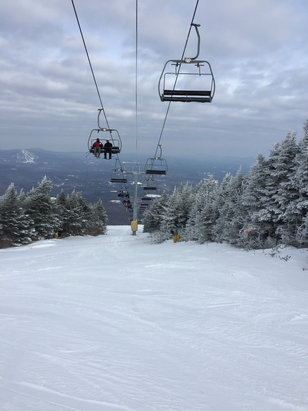 Stratton Mountain - Best Stratton day this season. Not cold, no wind, snow like butter, little ice - ©iPhone