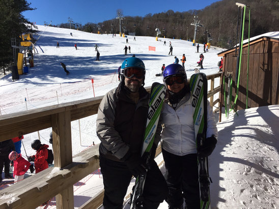 Cataloochee Ski Area - Did the slide in 5 over the long weekend. Instructors were great and the new Elan skis that are given at completion are sweet.  - © Von Bruce's iPhone