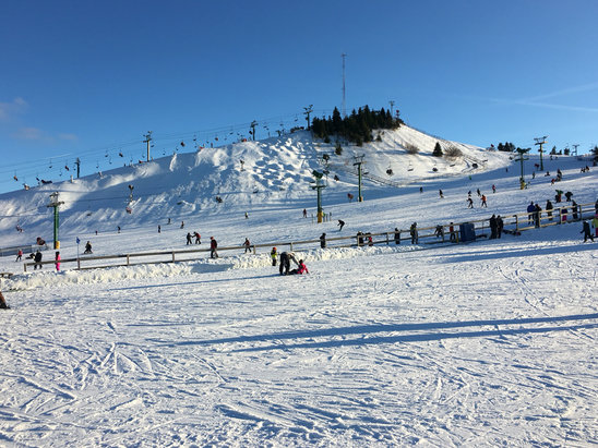 Pine Knob Ski Resort - PK was in excellent condition Saturday 1/23. Terrain parks were good, the Wall was excellent. Missed the mogul run they had last year. Best managed hill in southeast Michigan.   - © AP Ski Team