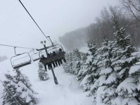 Seven Springs - Plenty of snow on all slopes, many options for lines through the trees. Would describe it as ... choppy soft. They'll probably groom most of it tonight (Saturday night).  - © Matt's iPhone