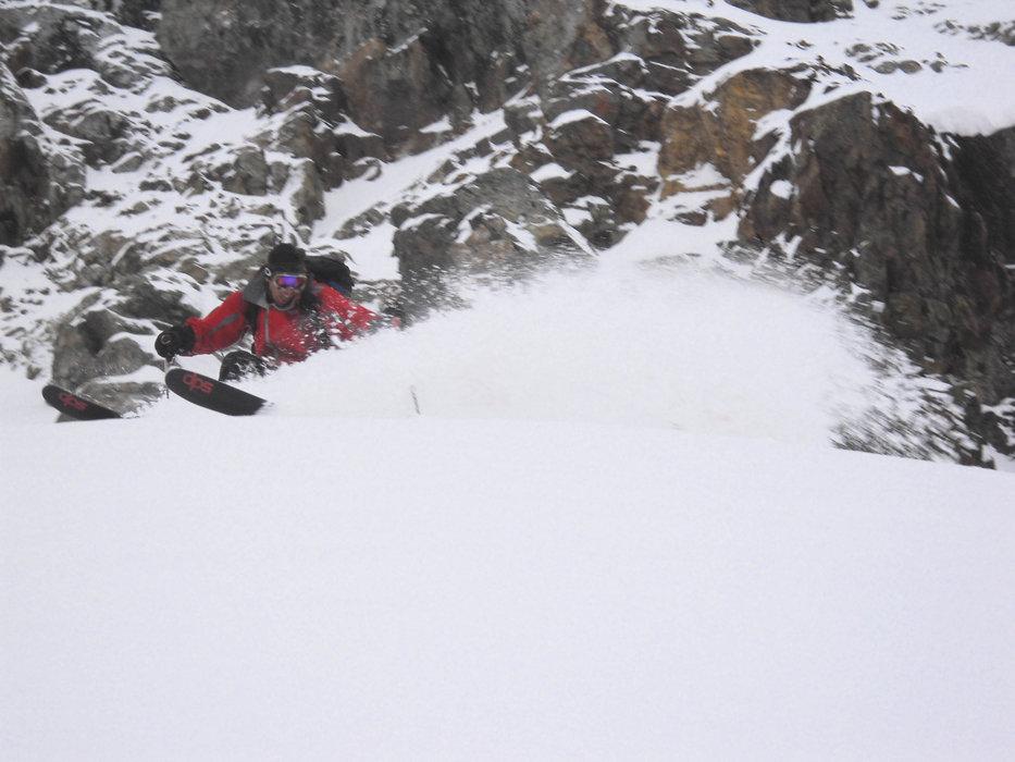 Skiing at Silverton Mtn, CO Oct. 7, 2009.