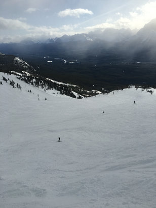 Lake Louise - Thursday: Epic day at Louise. 3 inches new snow, upwards of 8 in the bowls. Flat lite made bowls tough in morning. Front tracked out pretty fast, but nice packed powder on edges everywhere and a few untracked alpine areas.  - © Gary's iPhone 6S