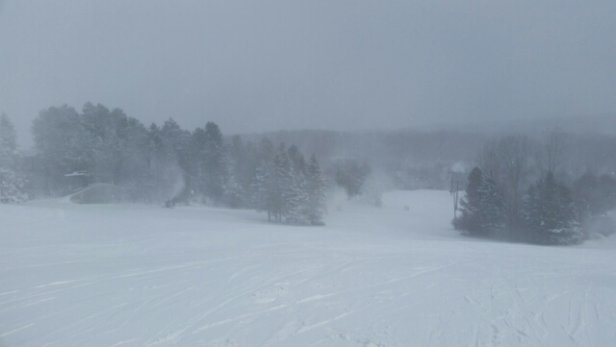Alpine Valley Ski Area - they were making snow today.  hills are in great shape.  No ice and no bad patches.   - ©Patrick