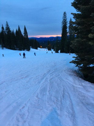 Mount Shasta Board & Ski Park - About 6pm last night. Fun time skiing for the first trip in 20 years. It was beautiful and hot at noon, but changes every couple of hours.  - © Jess's iPhone 6