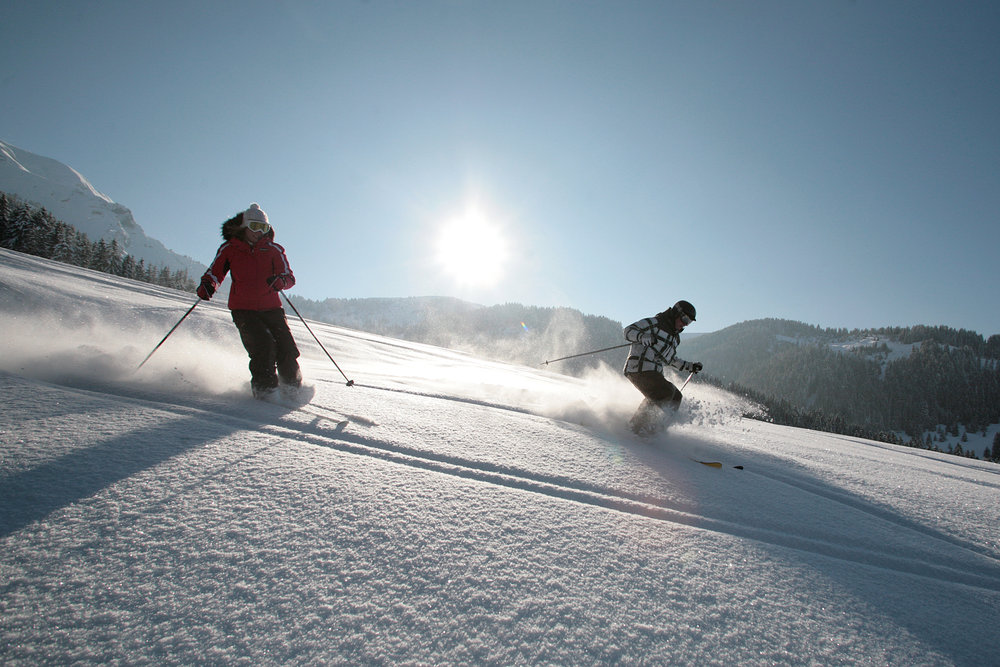 Skifahrer in Megève, Frankreich
