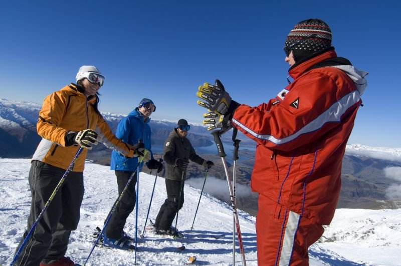 Skiers receiving instruction at Treble Cone, NZ. Treble Cone Images 2006 - © Treble Cone Images