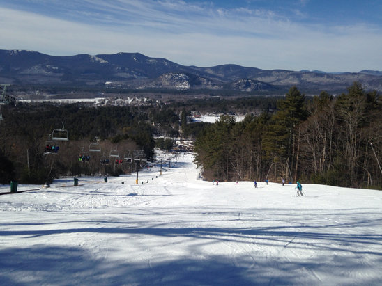 Cranmore Mountain Resort - We skied the past 2 days and considering the rains on Tuesday, conditions were good.  A little icy on North side of mtn.  Soft conditions on South side.  Very busy, but lines moved along.   - © iPhone (5)