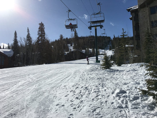 """Deer Valley Resort - Blue bird day. Clear, low winds, few skiers (end of California's """"ski week"""" vacation). Temps 30 on slopes this AM (10:12 am).Ski patrol still chopping down trees and removing downed timber.  - © A happy iPhone"""