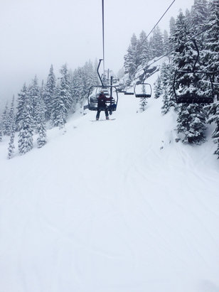 Stevens Pass Resort - Awesome day, not sure what the guy before was saying about slush. Face shots all day were had, dumping when I left and apparently all day.(Tuesday). Wednesday should be  - © iPhone (2)