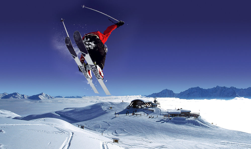 Skier coming in for a landing at Grossglockner, AUT.