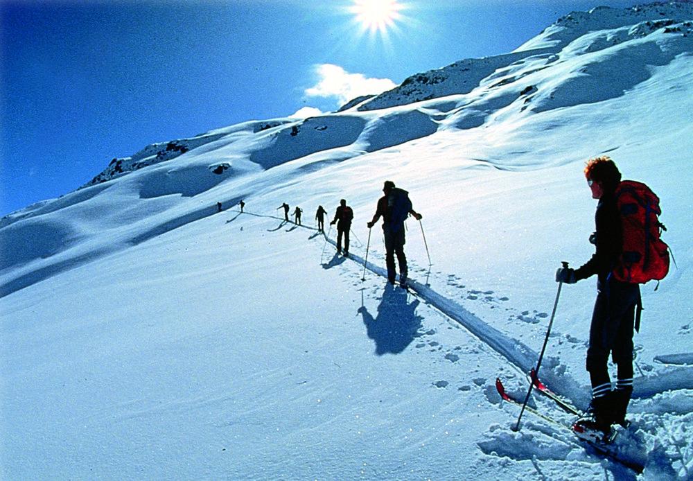 Skiërs in St. Anton, Oostenrijk.
