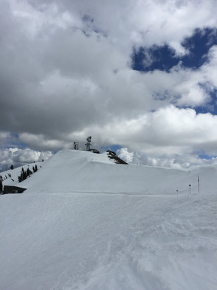 Squaw Valley - Alpine Meadows - Soft snow, big puffy clouds. All good at Alpine today✔️ - ©dana's iPhone