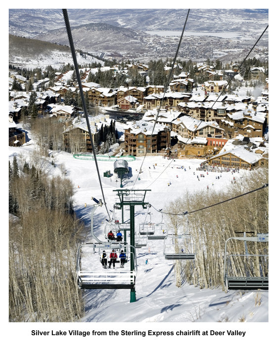 Il Silver Lake Village visto dalla seggiovia Sterling Express a Deer Valley.