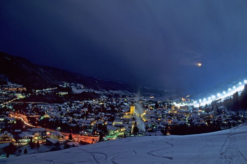 The town of Schladming, AUT after dark
