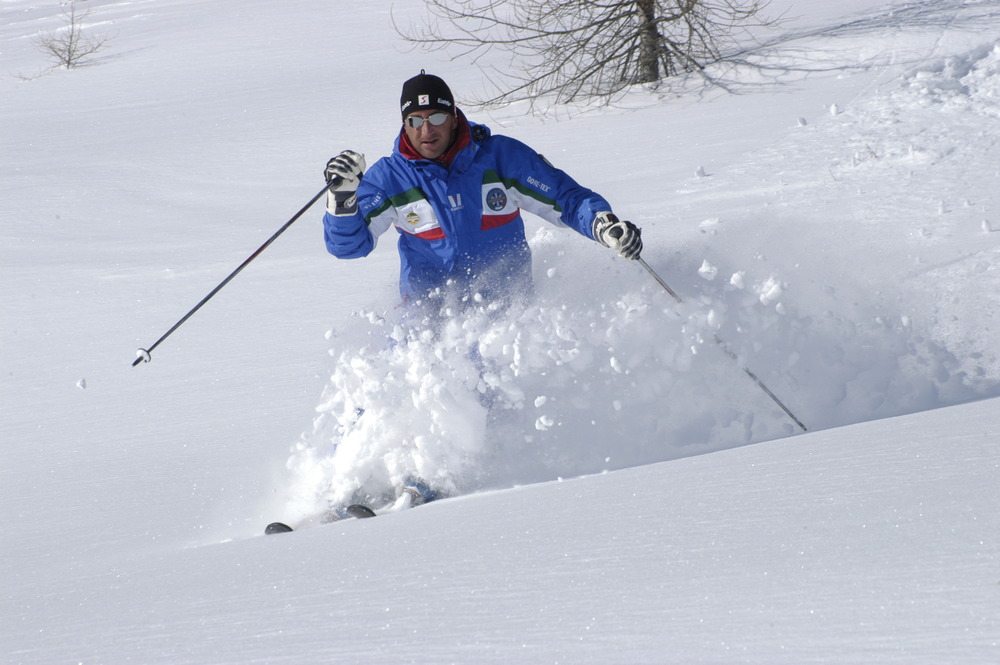 Freeride skier at Pisgana Adamelloski